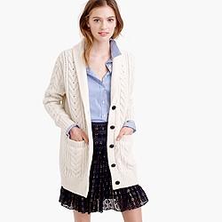 Shawl-collar long cable cardigan sweater