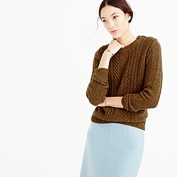 Perfect cable sweater in speckled wool