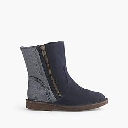 Girls' zip chalet boots with glitter