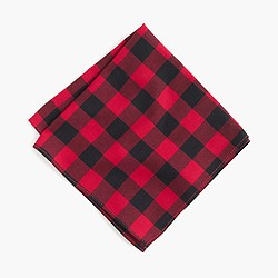 Cotton pocket square in buffalo check