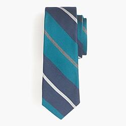 English silk tie in Bedford stripe