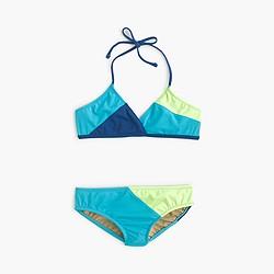 Girls' colorbock halter bikini set