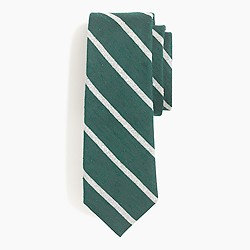 Textured English silk tie in forest stripe