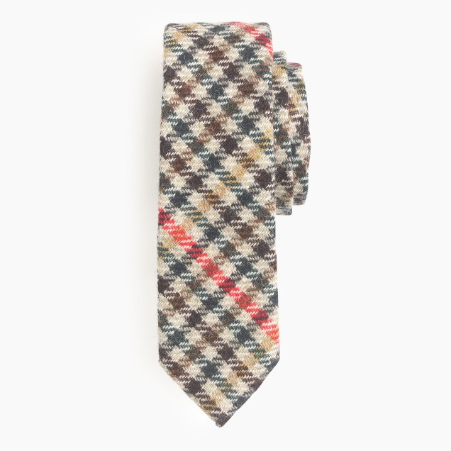 English wool tie in multicheck