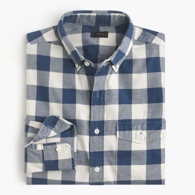 Brushed twill shirt in batavia gingham j crew for Brushed cotton twill shirt
