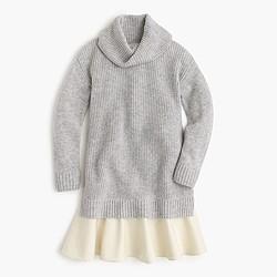 Girls' turtleneck combo dress