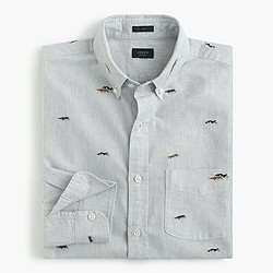 Slim vintage oxford shirt with embroidered huskies