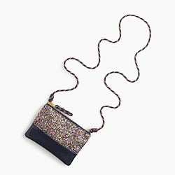 Girls' leather pouchette bag with glitter