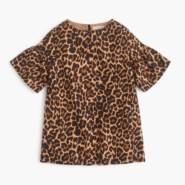 Girls' shift dress in sandy leopard