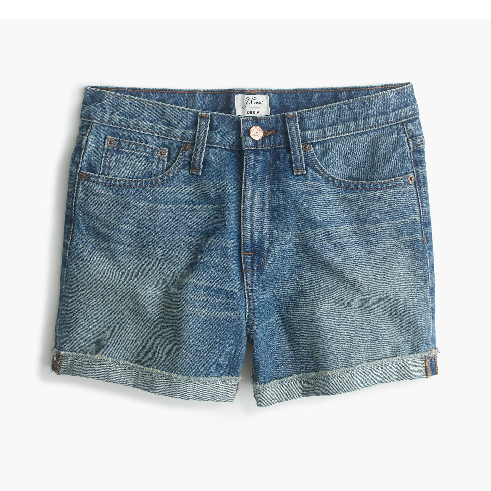High-rise broken-in boyfriend short in meadow wash : Women denim ...