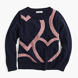 Girls' abstract heart popover sweater