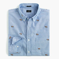 Slim vintage oxford shirt with embroidered St. Bernards
