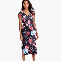 Drapey side-slit dress in floral splash