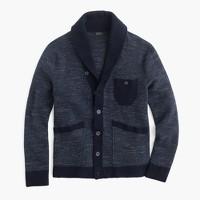 Textured cotton shawl-collar cardigan sweater
