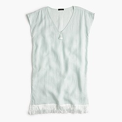 Linen cover-up with fringe