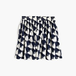 Girls' heart-print pull-on skirt