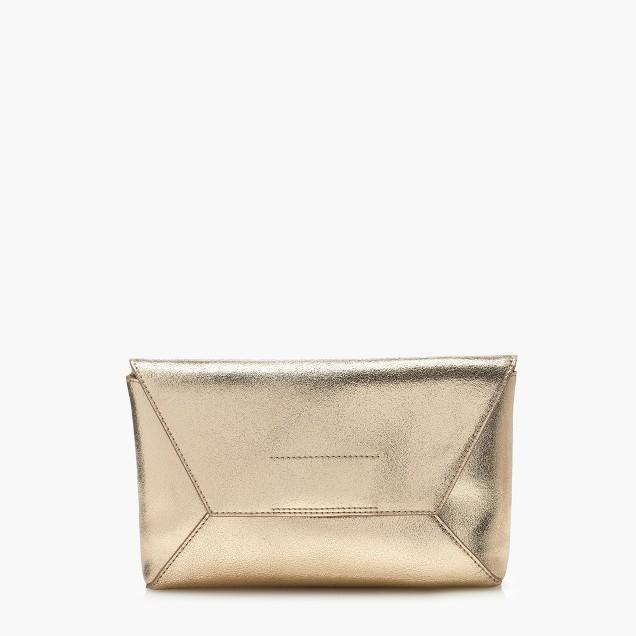 Leather envelope clutch in crackled gold foil