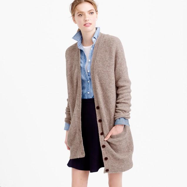 Wool-blend long V-neck cardigan sweater