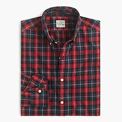 Slim Secret Wash shirt in deep blue tartan