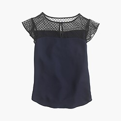 Swiss-dot flutter-sleeve top in navy