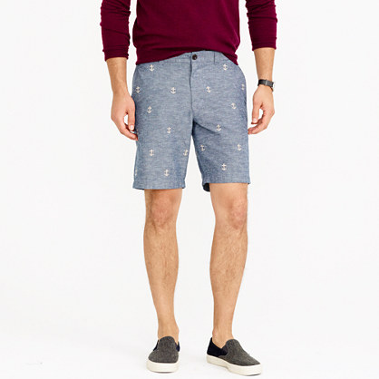 """9"""" Stanton short in chambray with embroidered anchors"""