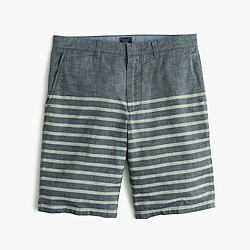 "10.5"" club short in striped chambray"