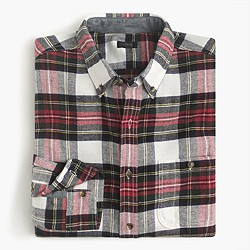 Cotton-wool elbow-patch shirt in Stewart plaid
