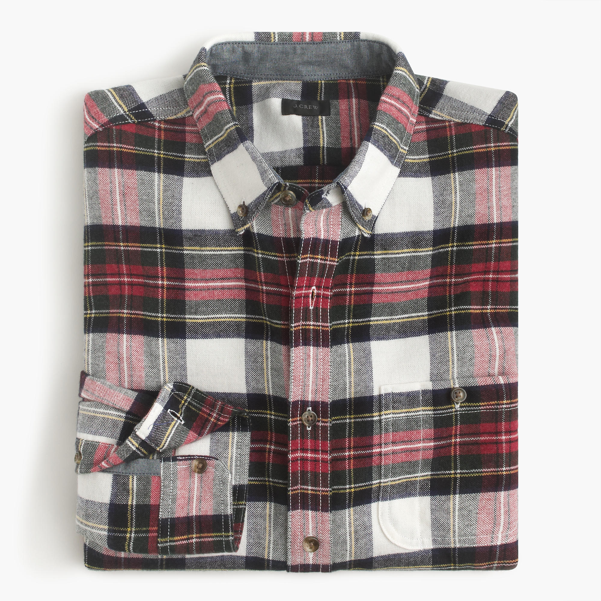 Cotton wool elbow patch shirt in stewart plaid j crew for Mens flannel shirt with elbow patches