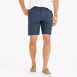 "9"" Stanton short in crosshatched linen-cotton"