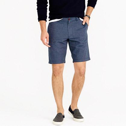 "10.5"" Stanton short in crosshatched linen-cotton"