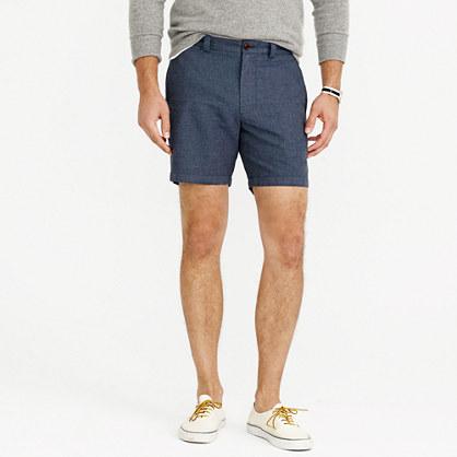 "7"" Stanton short in crosshatched linen-cotton"