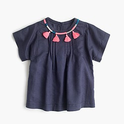 Girls' tassle necklace peasant shirt