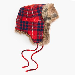 Faux-fur trapper hat in plaid