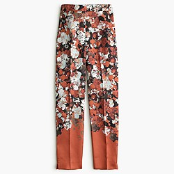 Collection silk-wool twill pant in falling floral
