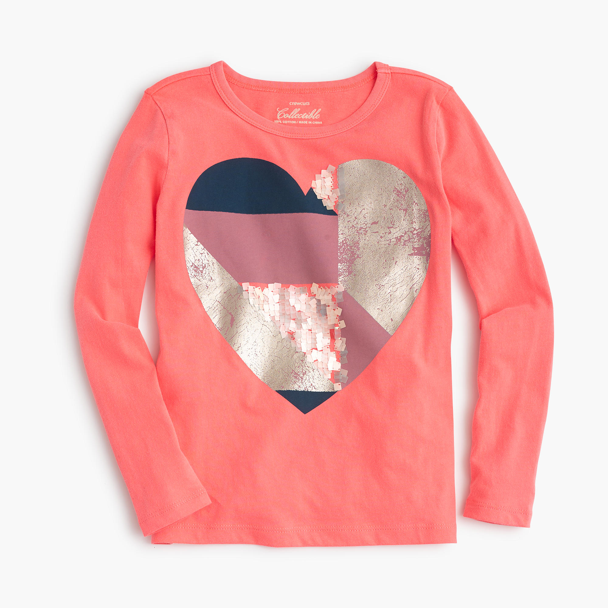Girls 39 striped sequin heart t shirt j crew for Girls sequin t shirt