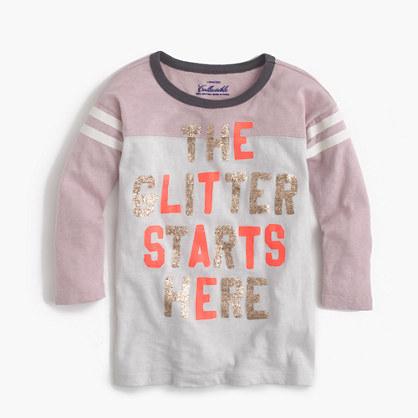 "Girls' ""the glitter starts here"" T-shirt"