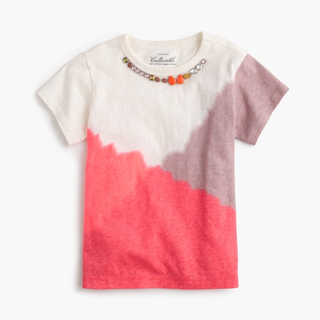 Girls' tie-dye necklace T-shirt