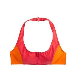 Colorblock zip halter bikini top