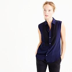 Sleeveless silk tuxedo bib blouse