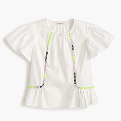 Girls' flutter-sleeve neon pom-pom shirt