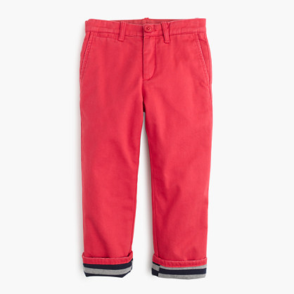 Boys' jersey-lined cozy chino pant