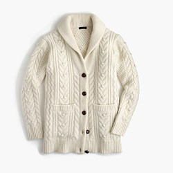 Italian cashmere-mohair cable cardigan sweater