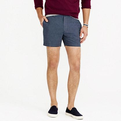 "5"" Stanton short in crosshatched linen-cotton"