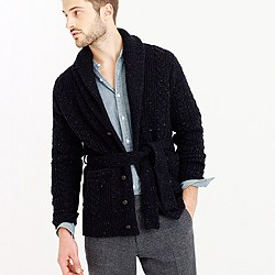 Donegal wool belted shawl cardigan sweater