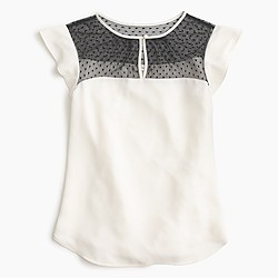 Swiss-dot flutter-sleeve top in ivory