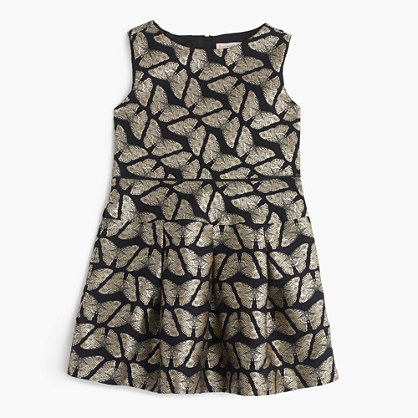 Girls' butterfly jacquard dress
