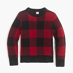 Boys' wool sweater in buffalo check