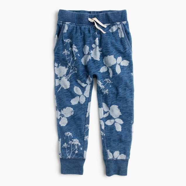 Girls' faded floral indigo sweatpant