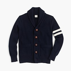 Boys' shawl-collar varsity cardigan sweater