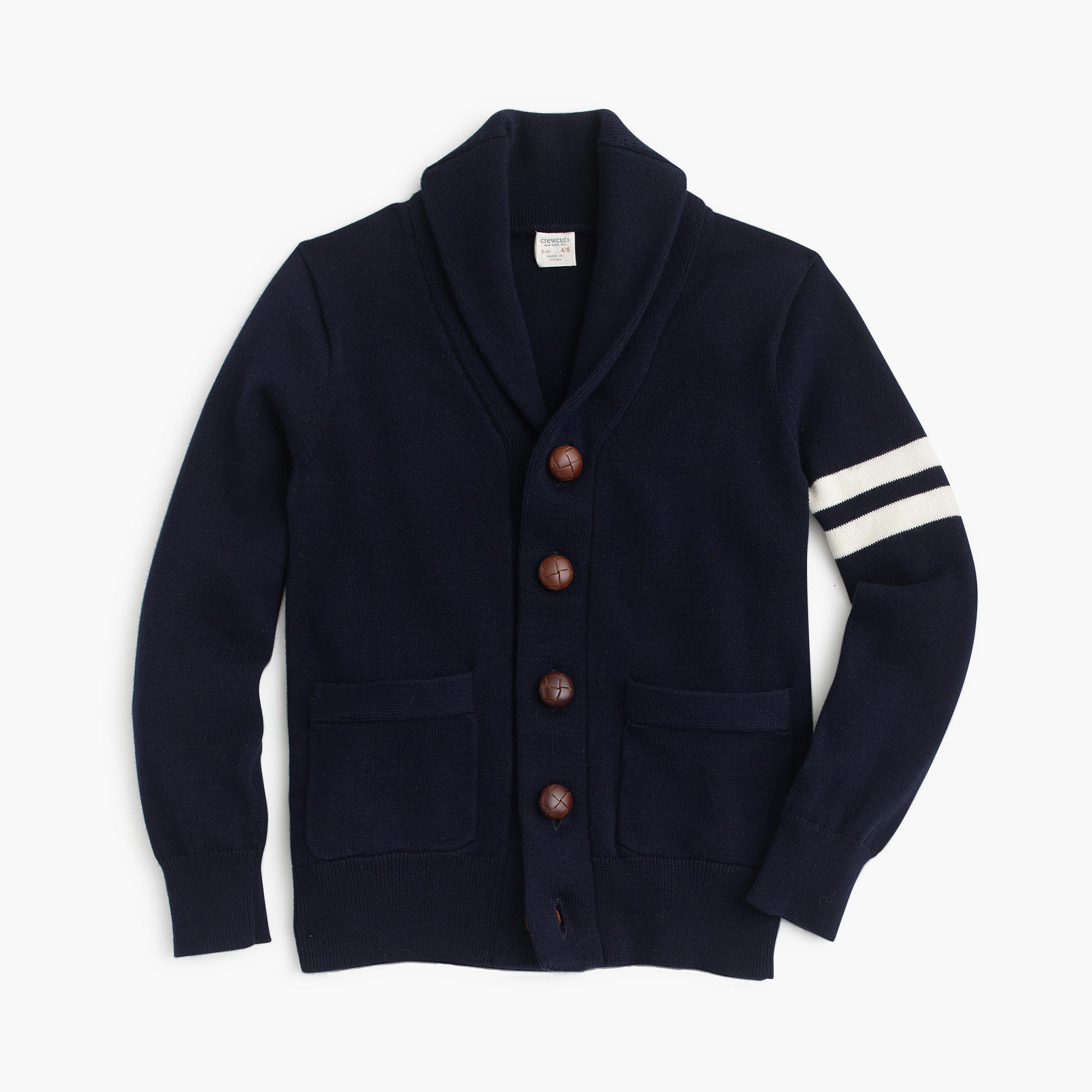 The vintage look of our Varsity Cardigan Sweater recalls youthful days of glory. Made of pure wool with three varsity stripes on the sleeve and a button front, this classic cardigan looks and feels just like the one in your dad's or grandfather's closet.